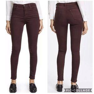 J Brand Maria High Rise Super Skinny Burgundy Pant